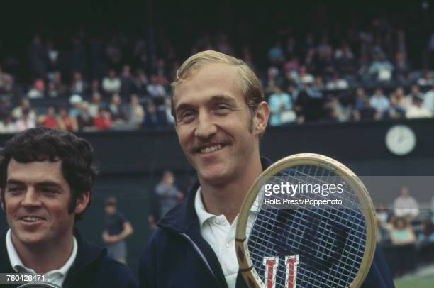 American tennis player Stan Smith pictured on right with fellow American tennis player Cliff Richey during progress to reach the final of the Men's...