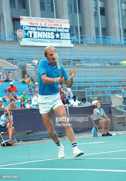 American tennis player Stan Smith returns a shot during a match Chicago Illinois 1976