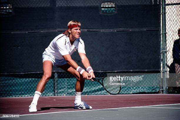 American tennis player Vincent Van Patten in action on the court September 1982