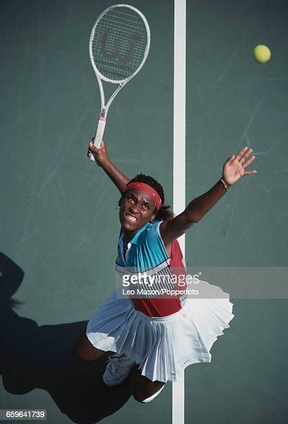 American tennis player Zina Garrison pictured in action competing to reach the semifinals of the 1989 US Open Women's Singles tennis tournament at...