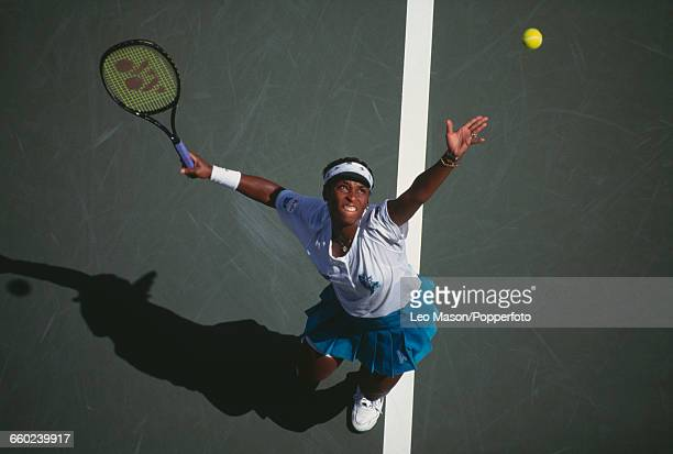 American tennis player Zina Garrison pictured in action competing to reach the fourth round of the 1994 US Open Women's Singles tennis tournament at...