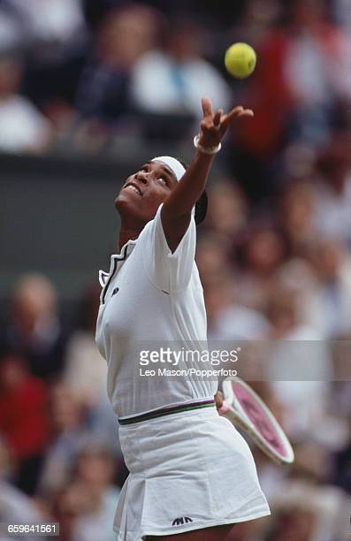 American tennis player Zina Garrison pictured in action during progress to reach the final of the Ladies' Singles tournament at the Wimbledon Lawn...