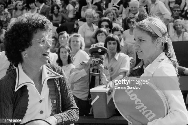 American tennis players Billie Jean King and Chris Evert chatting before their match in the women's semifinals at Wimbledon Championships All England...