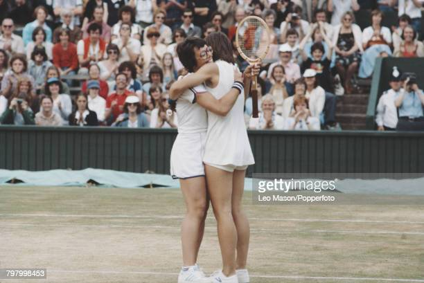 American tennis players Billie Jean King and Martina Navratilova embrace each other after beating Betty Stove and Wendy Turnbull to win the final of...