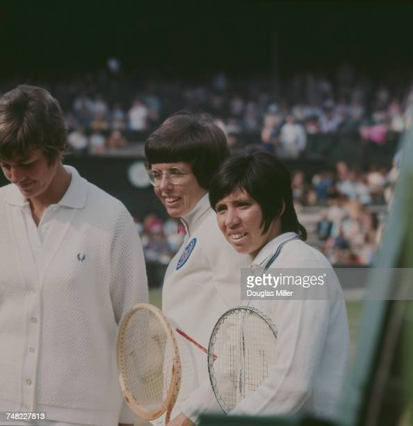 American tennis players Billie Jean King and Rosemary Casals with Margaret Court at the Ladies' Doubles final at Wimbledon London 3rd July 1971 King...