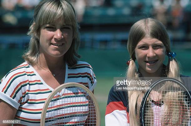 American tennis players Chris EvertLloyd and Andrea Jaeger pictured together before their quarterfinal match during competition at the Chichester...