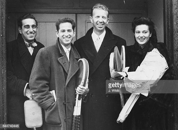 American tennis players Karl Earn Bobby Riggs Donald Budge and Mrs Budge arriving at Heathrow Airport London February 3rd 1947
