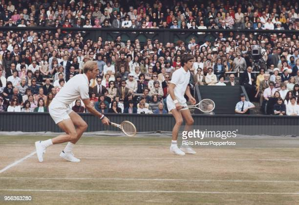 American tennis players Stan Smith and Erik van Dillen pictured in action against Bob Hewitt and Frew McMillan of South Africa in the final of the...