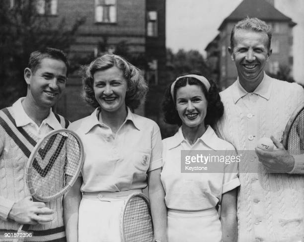 American tennis stars arrive for practise at Wembley in London before the professional lawn tennis tournament there 18th July 1947 From left to right...
