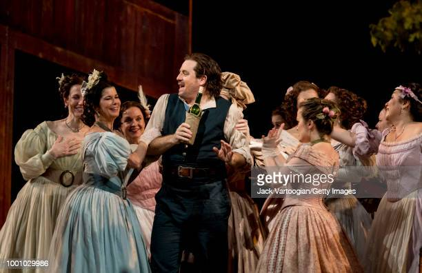 American tenor Matthew Polenzani along with the company performs at the final dress rehearsal prior to the season premiere of the Metropolitan...