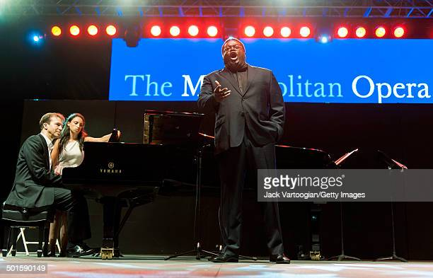 American tenor Russell Thomas performs with Dan Saunders on piano at the sixth annual seasonopening concert in the Metropolitan Opera Summer Recital...