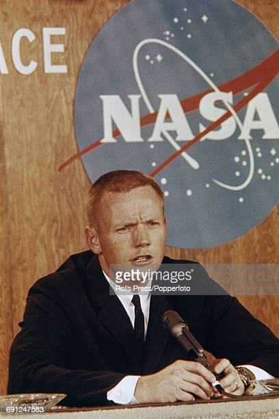 American test pilot and NASA astronaut, Neil Armstrong pictured at a press conference in Houston, Texas, United States on 2nd February 1966, prior to...
