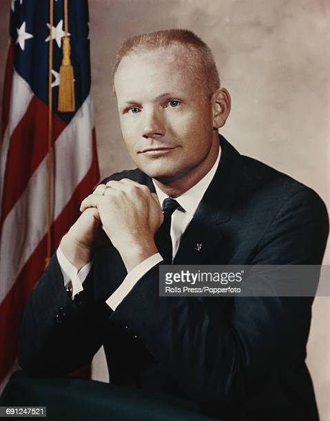 American test pilot and NASA astronaut Neil Armstrong pictured in the United States on 2nd February 1966 the year he would command the Gemini 8...
