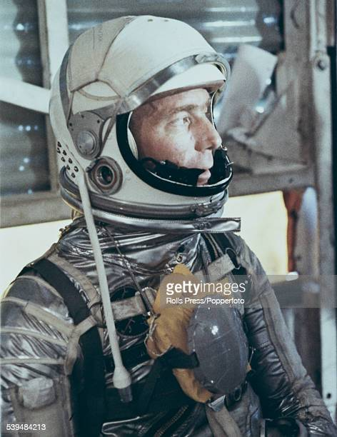 American test pilot astronaut and member of the Mercury 7 team Scott Carpenter pictured dressed in a space suit during training at Cape Canaveral in...