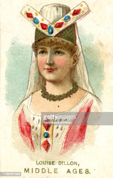 American theater actress Louise Dillon depicted on collectible tobacco card from the Actors and Actresses series from 1889 distributed by cigarette...
