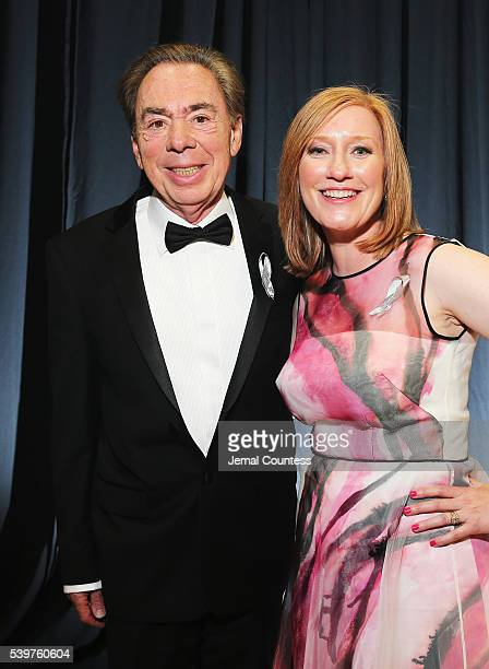 American Theatre Wing President Heather A Hitchens and Composer Andrew Lloyd Webber attends 70th Annual Tony Awards Press Room at Beacon Theatre on...