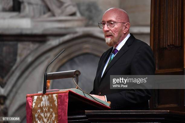 American theoretical physicist and Nobel laureate Kip Thorne speaks at Professor Stephen Hawking's memorial service at Westminster Abbey on June 15...