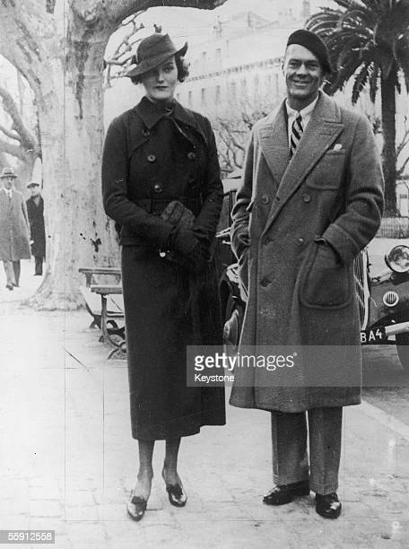 American tobacco heiress and socialite Doris Duke with her first husband James Cromwell in Cannes for their honeymoon February 1935