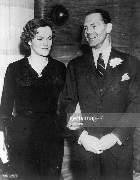 American tobacco heiress and socialite Doris Duke with her first husband James Cromwell on board the SS Conte de Savoia as they begin their honeymoon...