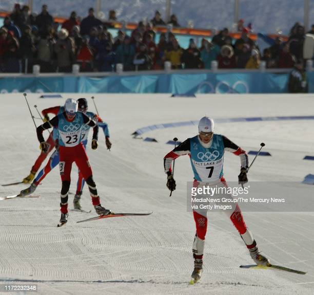 American Todd Lodwick nears the finish line of the individual 15 km portion of the Nordic Combined. He didn't place in the event. Samppa Lajunen of...