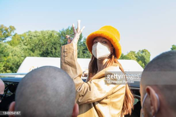 American top model Gigi Hadid seen at Tod's fashion show on the third day of Milan Fashion Week Women's Spring Summer 2022 on September 24, 2021 in...