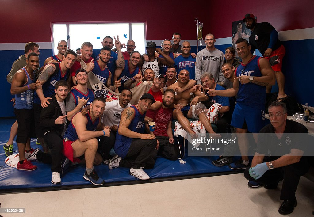 American Top Team celebrates after Hayder Hassan's victory over Vicente Luque during the filming of The Ultimate Fighter: American Top Team vs Blackzilians on February 27, 2015 in Coconut Creek, Florida.