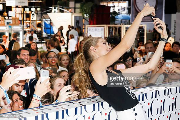 American Topmodel Gigi Hadid with fans during the Bread & Butter by Zalando at arena Berlin on September 2, 2016 in Berlin, Germany.