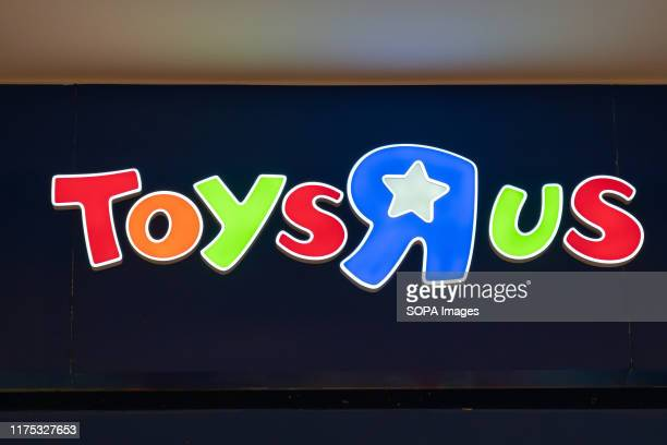 """American toy, clothing, video game, and baby product retailer Toys """"R"""" Us logo seen in Shenzhen."""