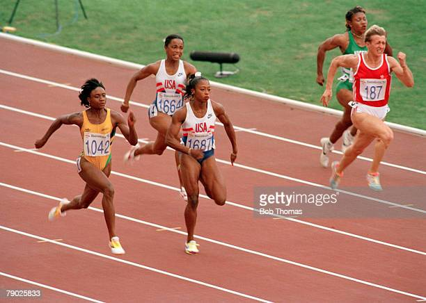 American track and field athlete Gail Devers pictured in action third from left competing in the semi final of the Women's 100 metres event before...