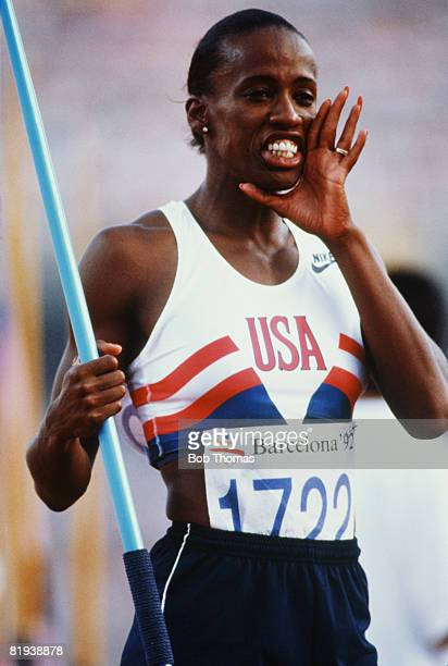 American track and field athlete Jackie JoynerKersee pictured in action competing in the javelin throw discipline on the second day of competition...