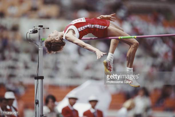 American track and field athlete Louise Ritter of the United States team pictured in action enroute to finishing in first place to win the gold medal...