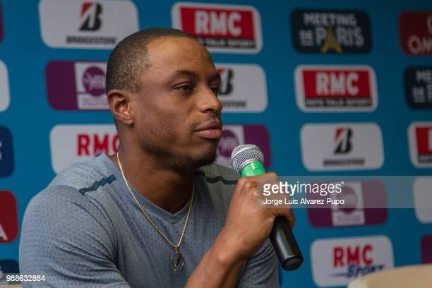 American track and field athlete Ronnie Baker speaks during the press conference of Meeting de Paris of the IAAF Diamond League 2017 at the Paris...