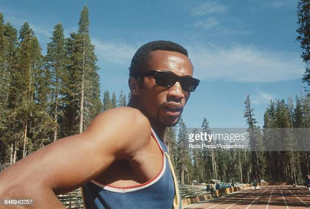American track athlete Tommie Smith pictured attending the United States Olympic Trials at Echo Summit in California in September 1968. Smith would...
