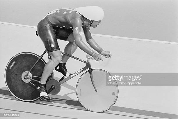 American track cyclist Steve Hegg pictured riding his new Raleigh racing bike in competition for the United States team to win the gold medal in the...