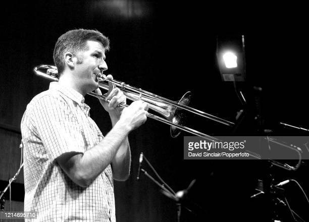American trombone player Jeb Bishop performs live on stage in London on 22nd October 2001