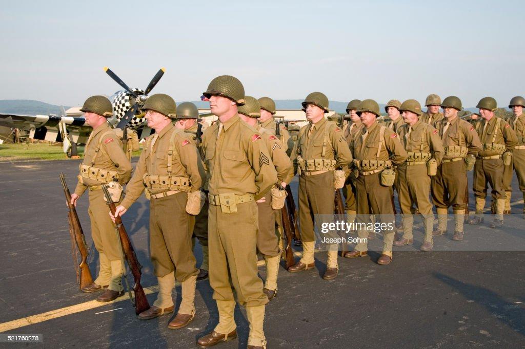 american troop reenactors at the midatlantic air museum wwii weekend