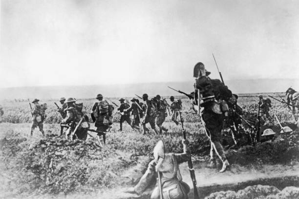 American troops advancing on Cantigny, France, 28th...