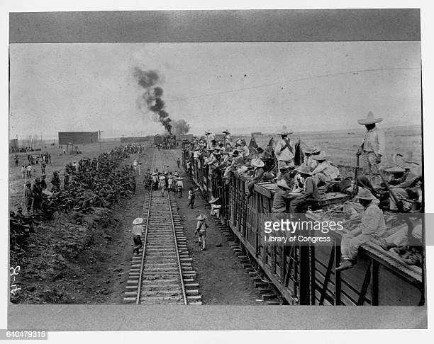 American troops and Mexican troops loyal to Carranza meet on a railroad in search of the Mexican bandit and revolutionary Pancho Villa Ca June 10...