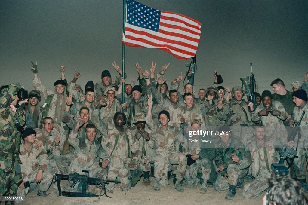 Gulf war pictures getty images american troops celebrate after taking kuwait during the gulf war 1991 sciox Gallery