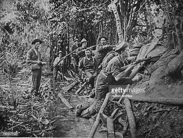 American troops in trenches near Manila, during the Spanish-American War, 1898.