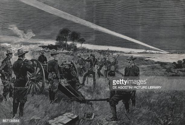 American troops landing in Daiquiri bay artillery opening fire June 24 SpanishAmerican war Cuba 19th century