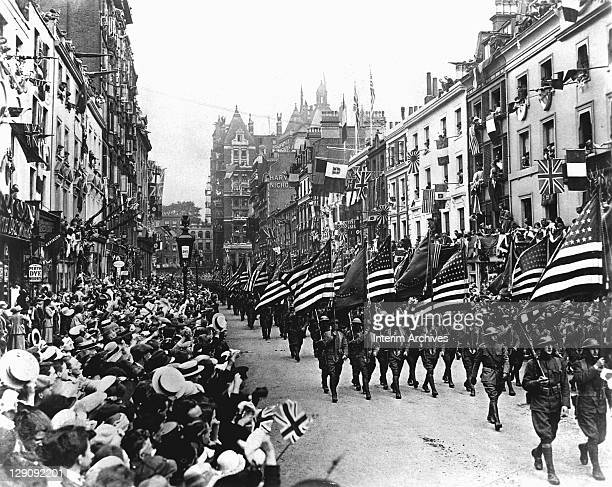 American troops marching down Sloane Street west London during World War I 1918