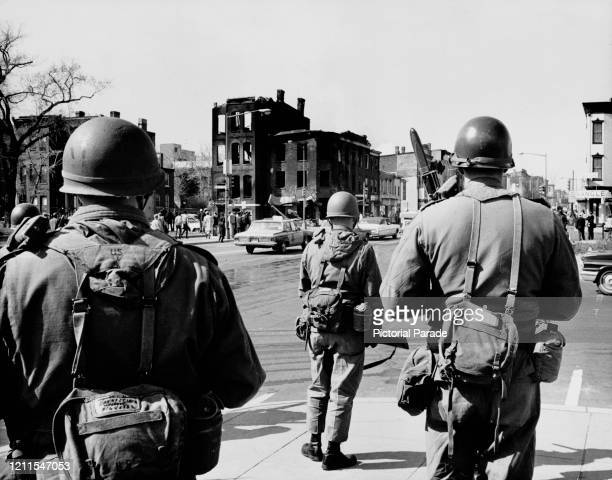 American troops on the street in response to rioting in Washington DC US 6th April 1968