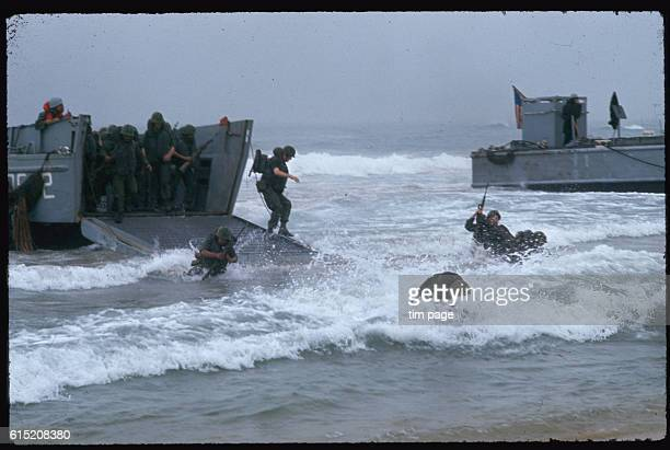 American troops participating in Operation Colorado, land on a beach, Quang Ngai Province, Vietnam.