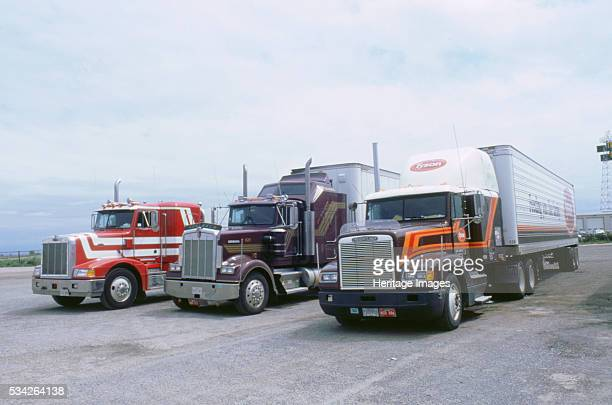American trucks at truckstop in USA 2000