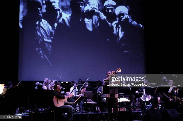 American trumpet player Terence Blanchard performs live on stage with an orchestra during a celebration of Spike Lee's film music at The Barbican in...