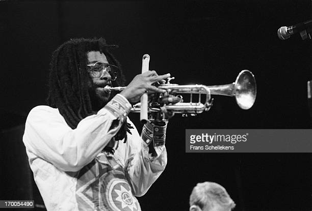 American trumpet player Wadada Leo Smith performs at the jazzmarathon in the Oosterpoort in Groningen, the Netherlands on 17th October 1987.