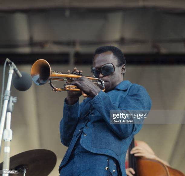 American trumpeter Miles Davis performs on stage at the Newport Jazz Festival held in Newport Rhode Island on July 04 1969