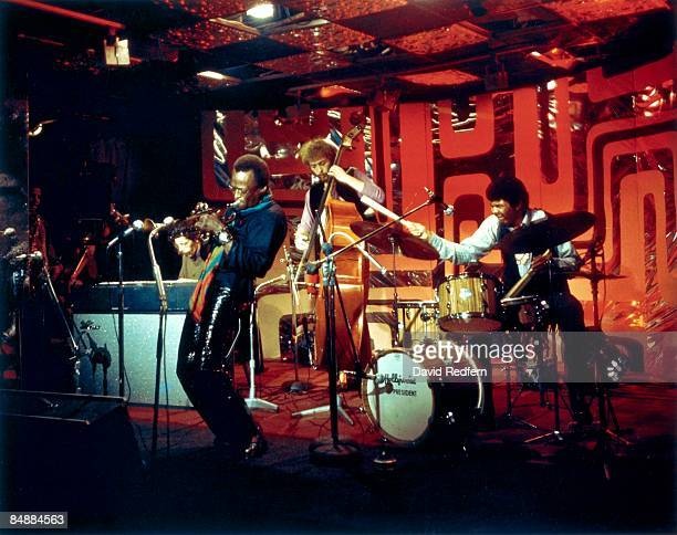 American trumpeter and composer Miles Davis performs on stage with pianist Chick Corea, bassist Dave Holland and drummer Jack Dejohnette for the BBC...