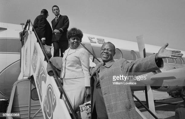 American trumpeter, composer and singer Louis Armstrong arrives in Leeds, UK, 18th June 1968.